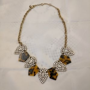 J. Crew Tortoise and Crystal Statement Necklace